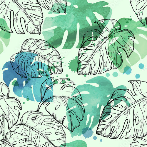 abstrakcyjne-tlo-w-tropikalne-liscie-malowane-akwarela