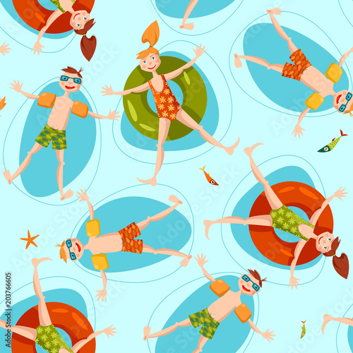 Cotton fabric Boy wearing inflatable armbands and girl with a float rubber safety ring swimming in the sea. Summer. Seamless background pattern.