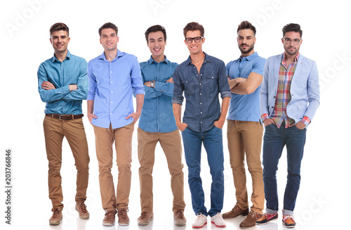 group of six young casual men standing confidently