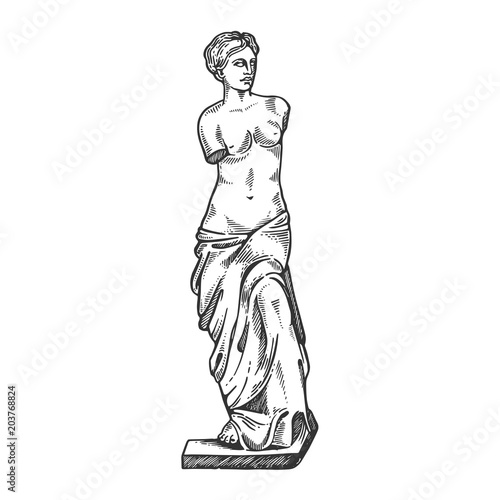 Photo Aphrodite ancient statue engraving vector