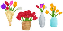 Hand Drawn Colorful Tulips Flo...