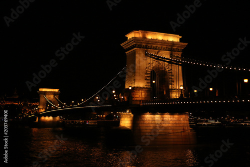In de dag Boedapest Budapest, Hungary - Beautiful Szechenyi Chain Bridge with sightseeing boat on River Danube