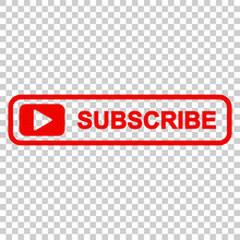 Subscribe Button Icon. Vector Illustration On Isolated Transparent Background. Business Concept Subscribe Pictogram.