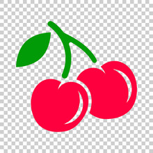 Cherry Berry Vector Icon. Cher...