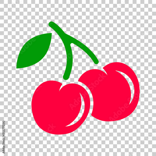 Canvastavla Cherry berry vector icon