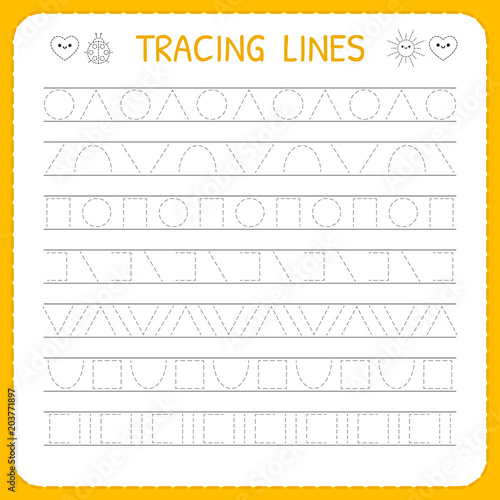 Basic writing. Trace line worksheet for kids. Working pages ...