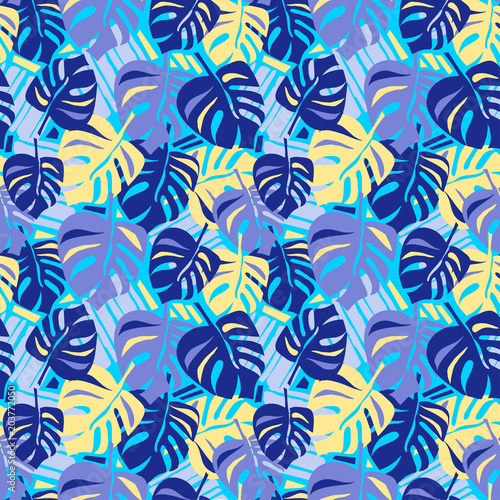 In de dag Kunstmatig Seamless summer tropical leaves pattern