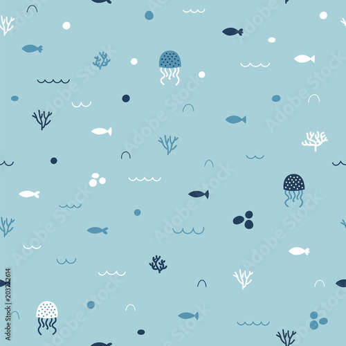 Cute childish seamless pattern in cartoon style Wallpaper Mural