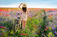 Romantic Young Woman Standing By The Back With Bicycle On A Poppy Meadow