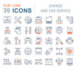 Set Vector Line Icons of Garage and Car Service.