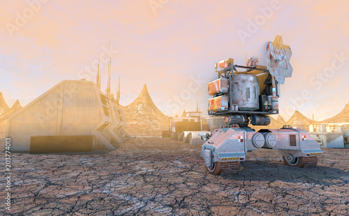 Tableau sur Toile 3D Illustration of Space station on Mars colony of pioneers