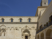 Architectural Feature Of The Lateral Facade Of Matera Cathedral And Its Bell Tower