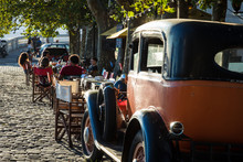 Old Car Parked In Historic Quarter In Colonia Del Sacramento, Uruguay. Colonia Del Sacramento Is One Of The Oldest Towns In Uruguay.