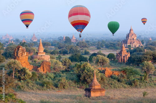Wall Murals Paris Colorful hot air balloons flying over Bagan, Mandalay division, Myanmar