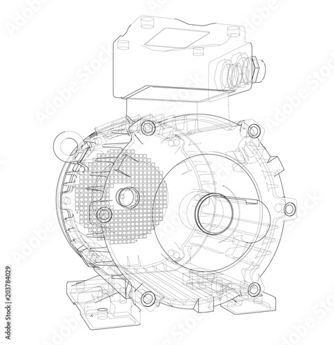 Electric Motor Outline Vector