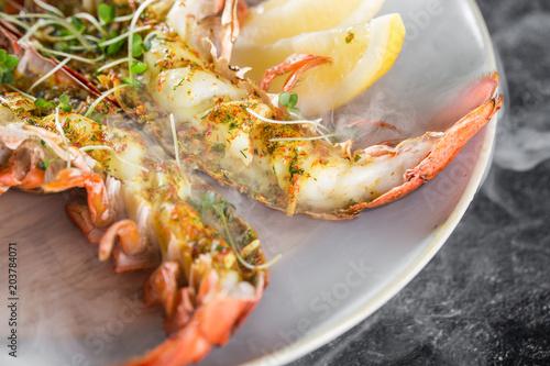 Grilled lobster tails baked in Josper oven