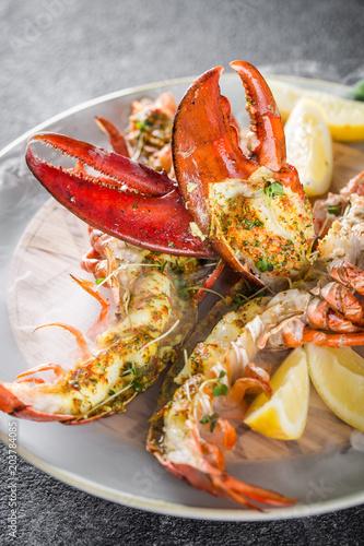Grilled lobster tails baked in Josper oven Fototapeta