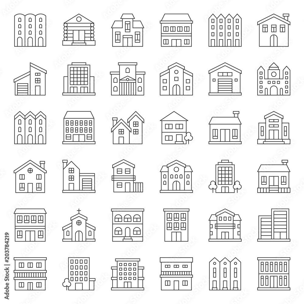 Fototapeta building construction vector outline icon set 2/3