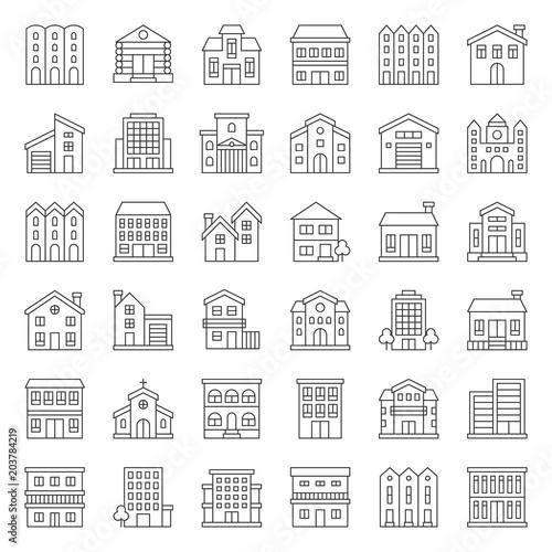 Fototapeta building construction vector outline icon set 2/3 obraz