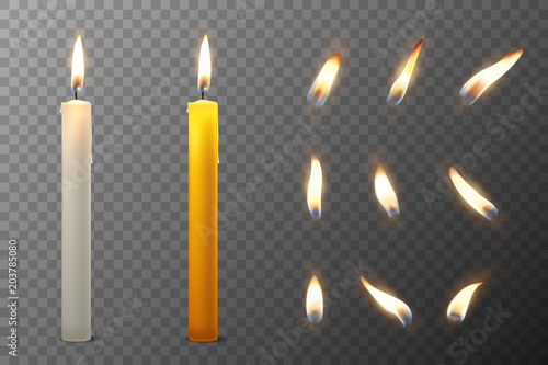 Obraz na plátne Vector 3d realistic white and orange paraffin or wax burning party candle and different flame of a candle icon set closeup isolated on transparency grid background