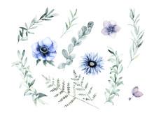 Watercolor Floral Greenery Set...