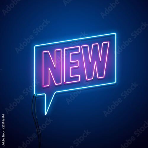 New collection neon sign. Vector illustration.