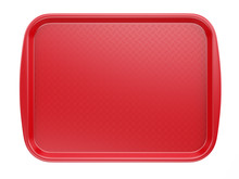 Empty Red Plastic Tray Salver ...