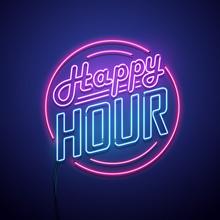 Happy Hour Neon Sign. Vector I...