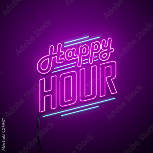 Photo Happy hour neon sign. Vector illustration.