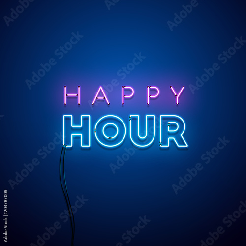 Fotografia Happy hour neon sign. Vector illustration.
