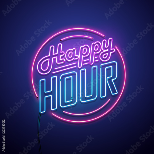 Happy hour neon sign. Vector illustration.
