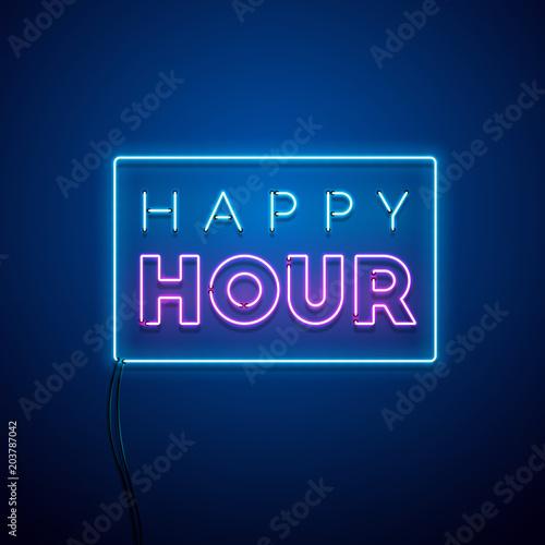 Fotografija Happy hour neon sign. Vector illustration.
