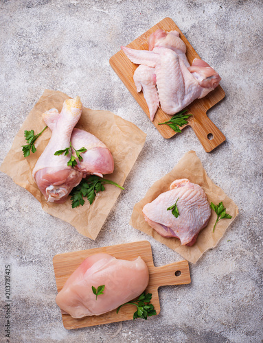 Fototapeta Raw chicken meat fillet, thigh, wings and legs obraz