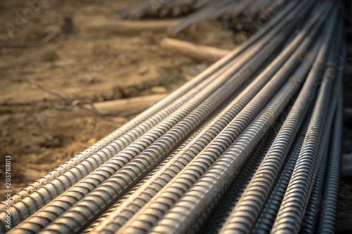 Carta da parati Construction rebar steel work reinforcement in conncrete structure of building