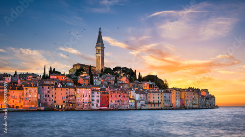 Wall Murals European Famous Place Sunset in Rovinj, Croatia