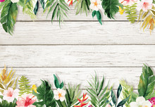 White Blank Paper Background With Plants And Flowers Border