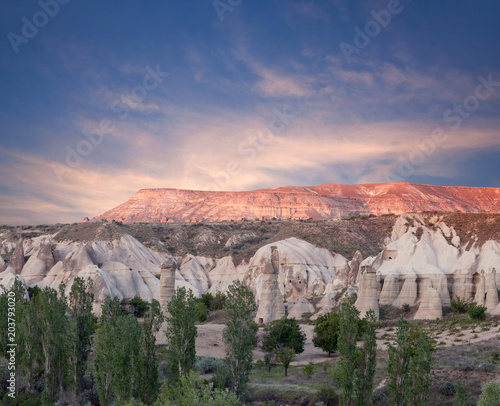 Foto op Aluminium Zalm Unique geological formations at sunset in Red valley, Cappadocia, Turkey