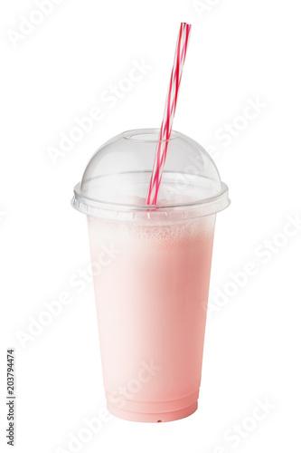 Foto op Aluminium Milkshake Strawberry milkshake in plastic disposable glass
