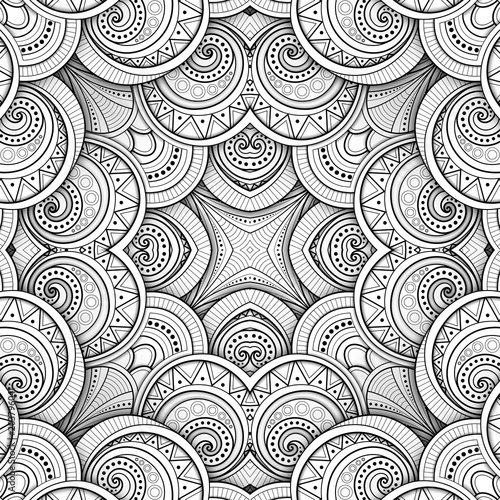 Foto op Canvas Kunstmatig Monochrome Seamless Tile Pattern, Fancy Kaleidoscope. Endless Ethnic Texture with Abstract Design Element. Art Deco, Nouveau, Paisley Garden Style. Coloring Book Page. Vector 3d Contour Illustration