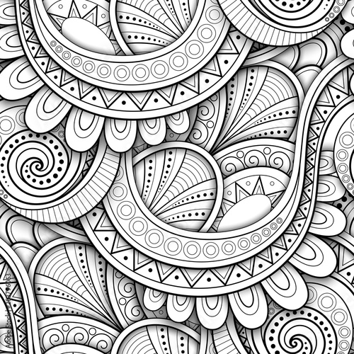 Cotton fabric Monochrome Seamless Pattern with Ethnic Motifs. Endless Texture with Abstract Design Element. Art Deco, Paisley Garden Style. Coloring Book Page. Vector 3d Contour Illustration. Ornate Abstraction
