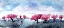 Landscape With Blossoming Apple Trees. Spring Garden, Abstract Watercolor Painting.
