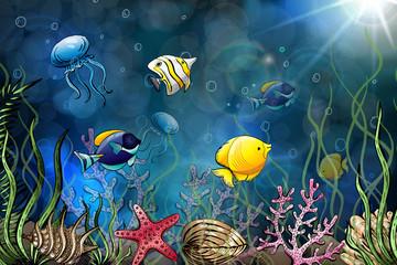 Fototapeta na wymiar Composition of seashells, starfish, jellyfish. Underwater world. Sea background. Vector illustration.