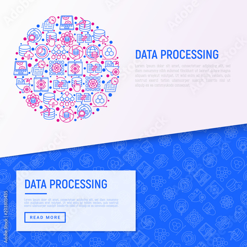 Data processing concept in circle with thin line icons: data science