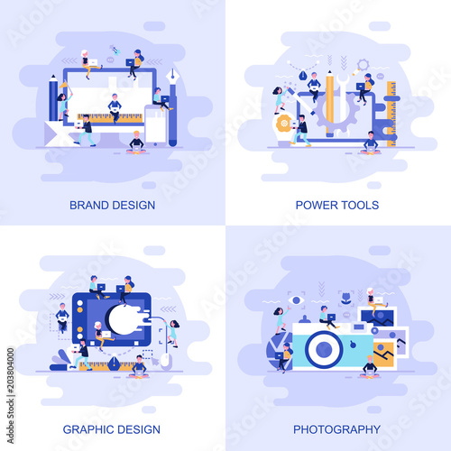 Modern flat concept web banner of Photography, Graphic Design, Power Tools and Brand Design with decorated small people character. Wall mural