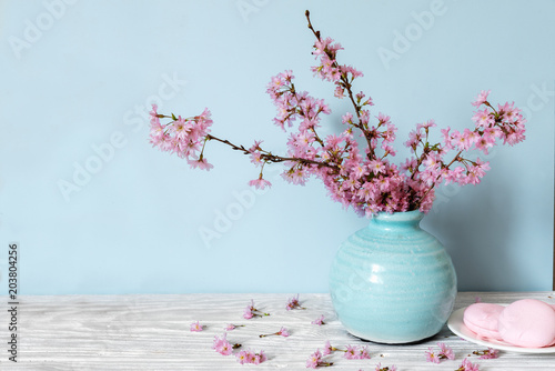 Fototapeta still life with bouquet of blooming cherry branches or sakura in a vase with macarons on blue background obraz