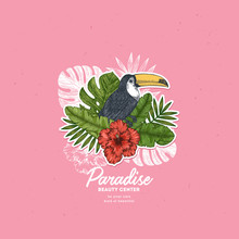 Tropical Retro Design Template. Bird Vintage Composition. Vector Illustration