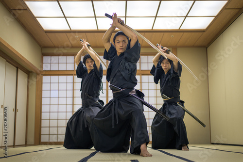 Fotografía Samurai training in a traditional dojo in Tokyo
