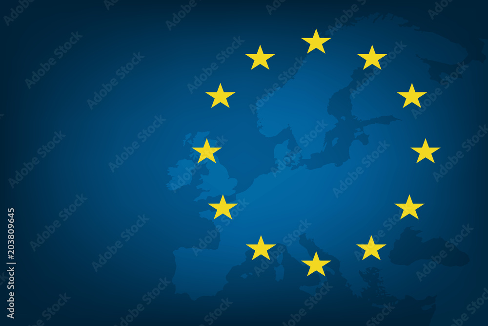 Fototapeta Flag of European Union and map of Europe background. Eu sign. Vector illustration