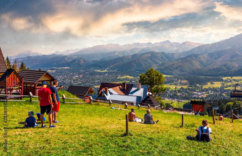 Fototapety, obrazy: tourist observe High Tatra mountains. beautiful location in Zakopane village, Poland