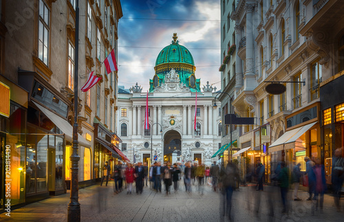 fototapeta na drzwi i meble The pedestrian zone Herrengasse with a view towards imperial Hofburg palace in Vienna, Austria.